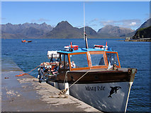 NG5113 : Slipway/pier at Elgol with 'Misty Isle' by Trevor Littlewood