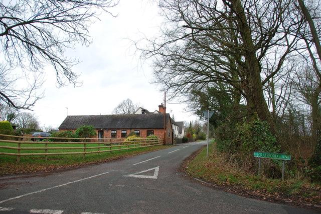Looking along Crateford Lane towards Clay Gates