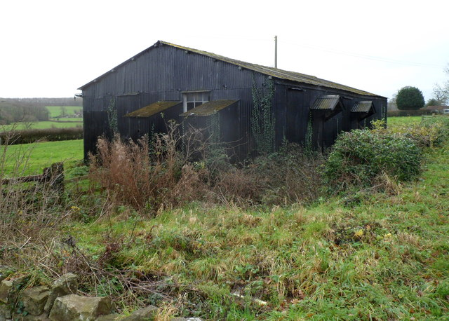Derelict corrugated metal building, Whitfield
