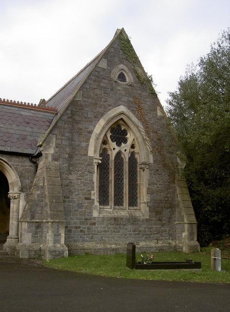 Eastern corner of Locksbrook Cemetery chapel