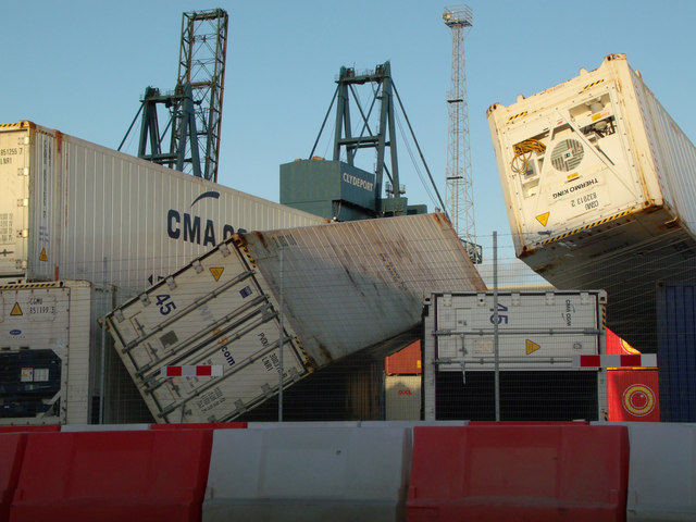 Storm damage at Greenock Ocean Terminal