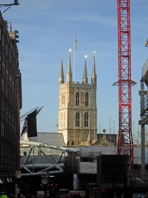 Southwark Cathedral from London Bridge Street