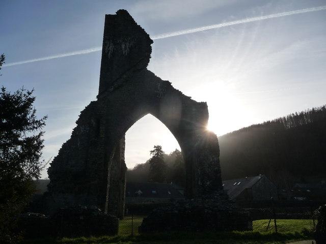Talley Abbey silhouette in winter sunlight