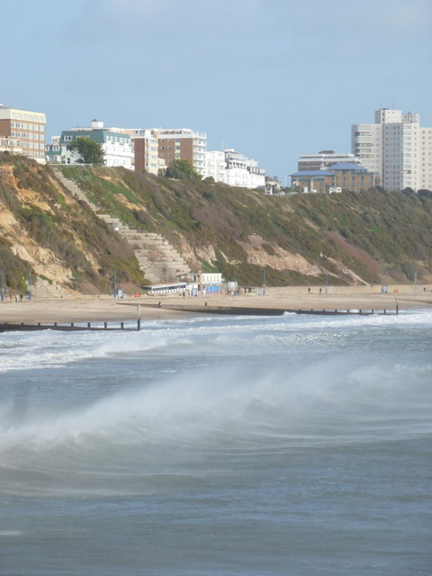 Bournemouth: spray and waves on a windy day