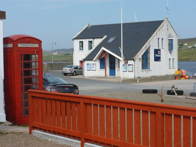 Aith: telephone box and lifeboat station