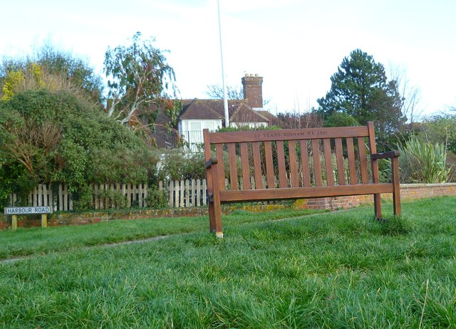 Commemorative seat at the end of Harbour Road