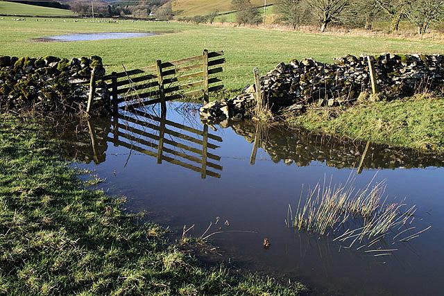 Waterlogged farmland at Dryden, Teviothead