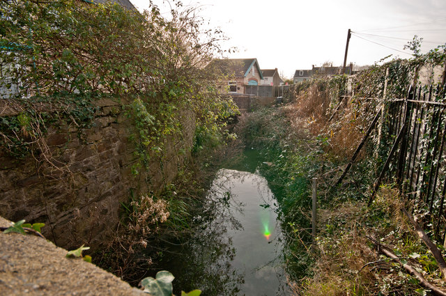 Looking downstream on Coney Gut from a bridge on Gloster Road