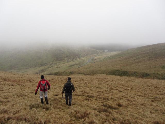 Descending the Beacons Way towards Storey Arms