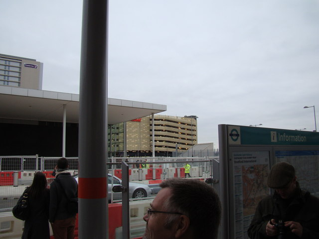 View of the Westfield multi-storey car park, from Stratford International DLR station