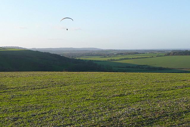 Paraglider above Stubbington Down