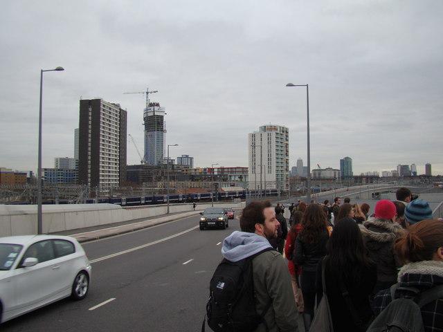 View of towerblocks in Stratford, viewed from Westfield Way