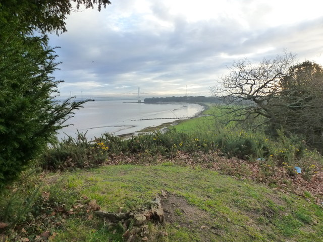 View along the cliff top towards the Severn Bridge