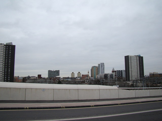 Buildings in Stratford, viewed from Westfield Way