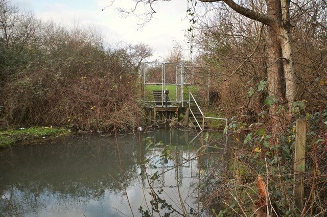 A sluice gate on Coney Gut just downstream from the storm overflow tunnel