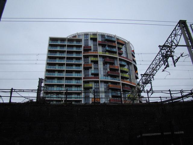 Colourful towerblocks on Warton Road