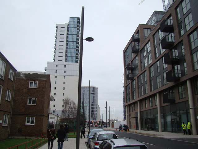 View along Warton Road to Stratford High Street