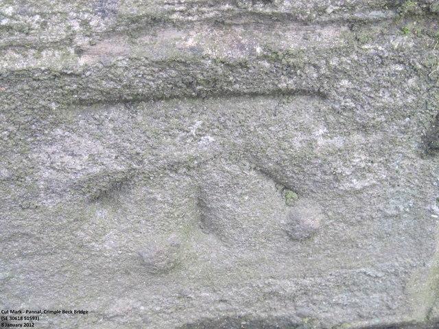 Ordnance Survey Cut Mark on bridge over Crimple Beck, Pannal