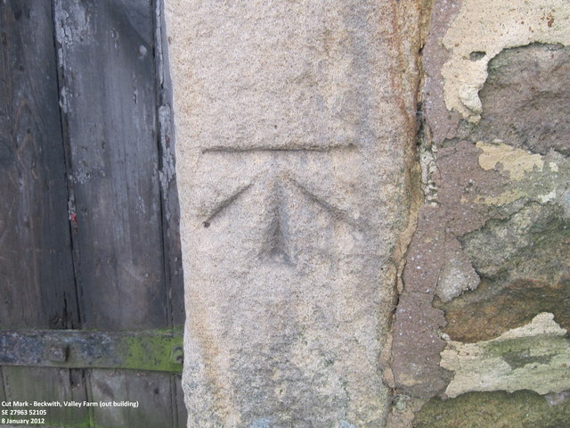 Ordnance Survey Cut Mark on outbuilding at Valley Farm, Beckwith