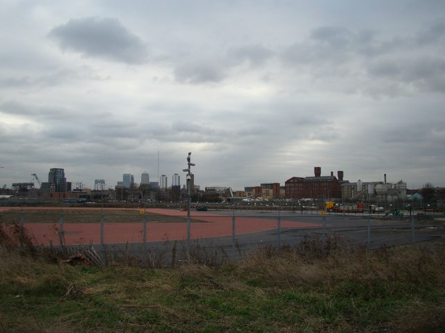 View of Canary Wharf and the Bow Quarter Estate (former Bryant & May match factory) from the Greenway