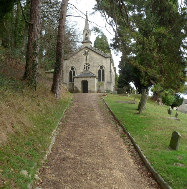 Entrance path to Grade II listed Church of the Holy Trinity, Slad