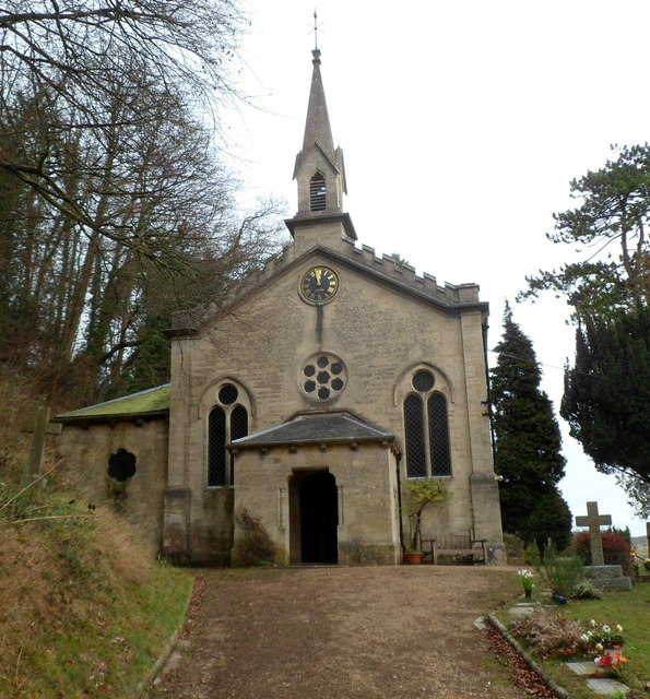 Front view of Grade II listed Church of the Holy Trinity, Slad