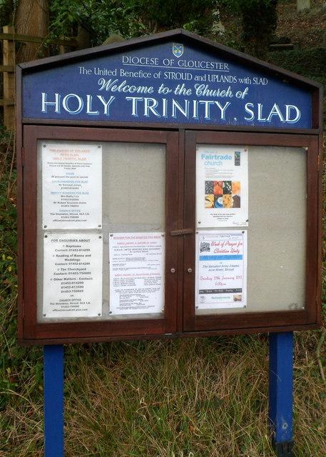 Notice board, Church of Holy Trinity, Slad