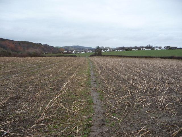 Footpath across winter fields near Conwy