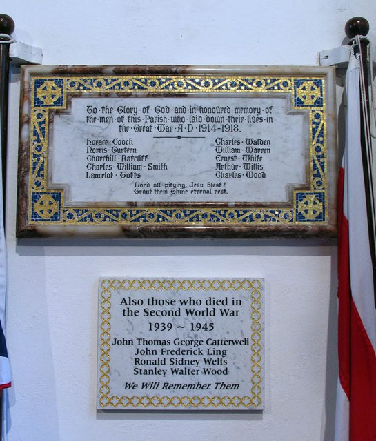 St Mary, Panfield - War memorial WWI & WWII