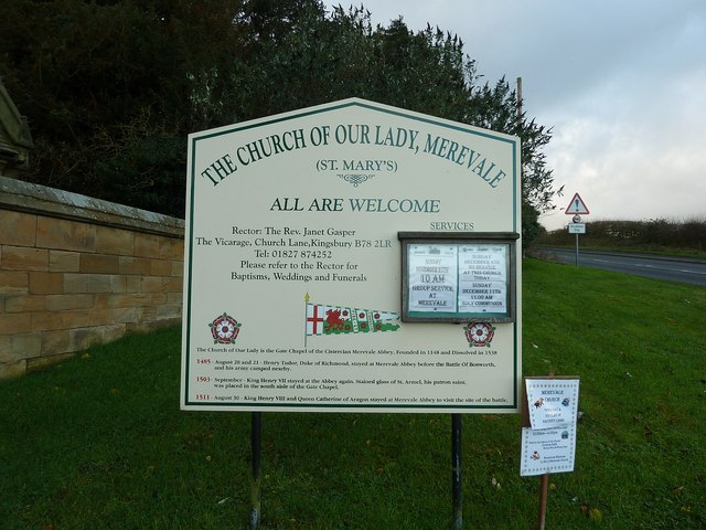 Signboard, Church of Our Lady, Merevale