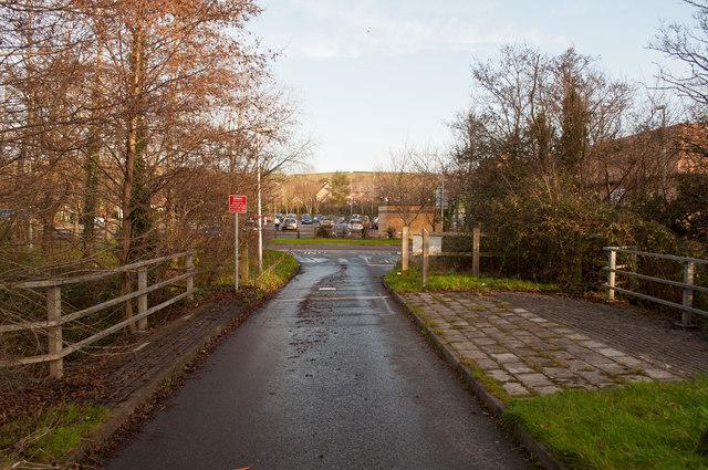 A footbridge & bus lane near Fairacre Avenue and Homebase crossing Coney Gut