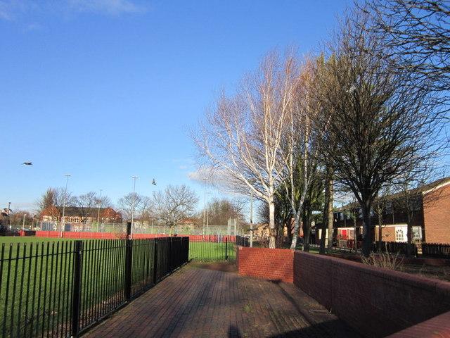 A footpath heading towards Leicester Street