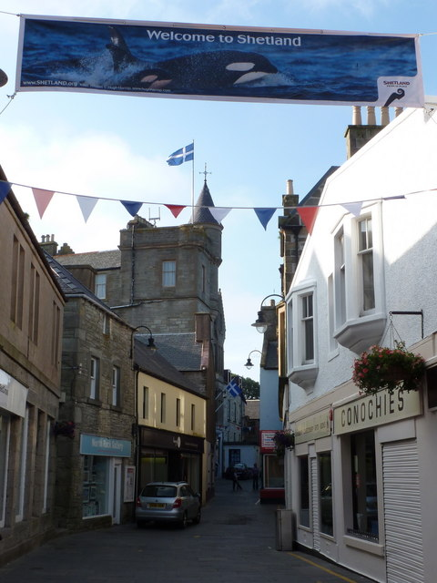 Lerwick: welcome banner over Commercial Street
