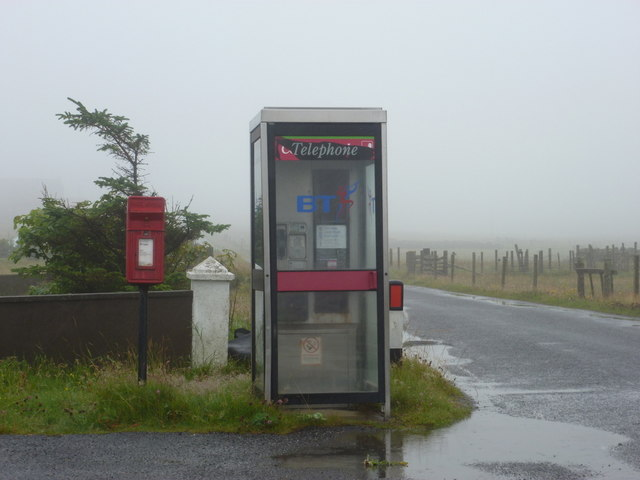 Brough: postbox № ZE2 109 and phone