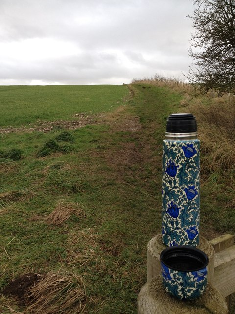 The Wolds Way, above Thixendale (with flask)