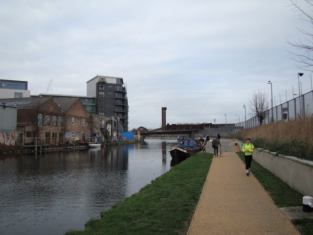 Looking along the River Lea to White Post Lane