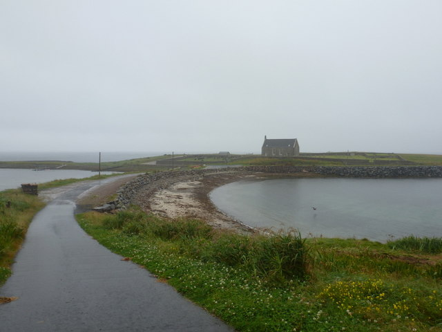 Whalsay: causeway to Kirk Ness
