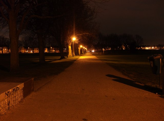 Path from Brompton to Gillingham (at night)