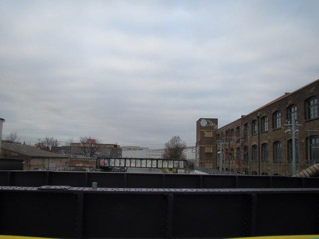 View of the London Overground bridge over the Lea
