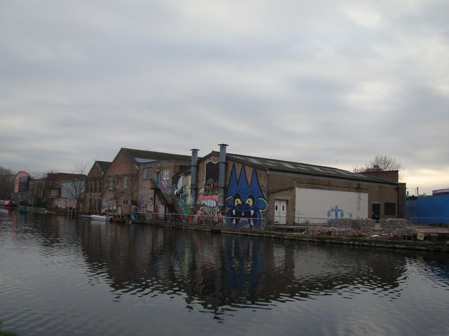 Heavily graffitied old industrial buildings #2