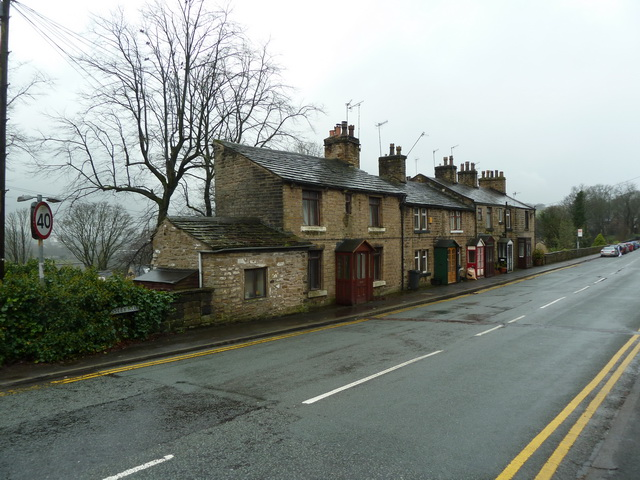 Row of terraced houses on Mossley Road, Grasscroft