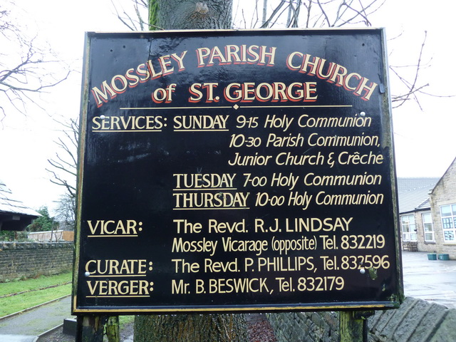 Mossley Parish Church of St George, Sign