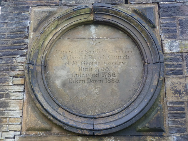 Mossley Parish Church of St George, Date stone