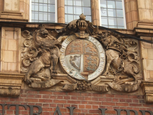 Coat of Arms above the entrance of the Central Library