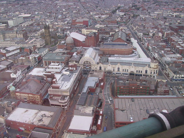 Blackpool Winter Gardens from the top of Blackpool Tower