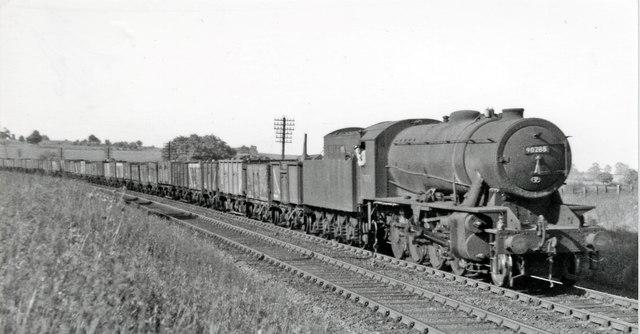 Up ECML coal train at Woolmer Green Box, near Knebworth
