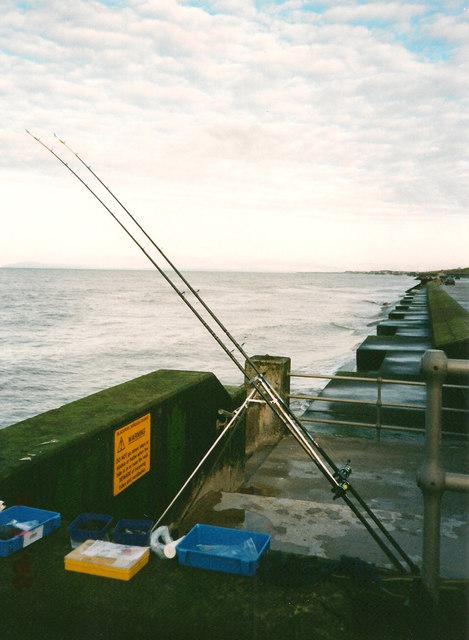 Sea Wall and fishing rods, Bispham