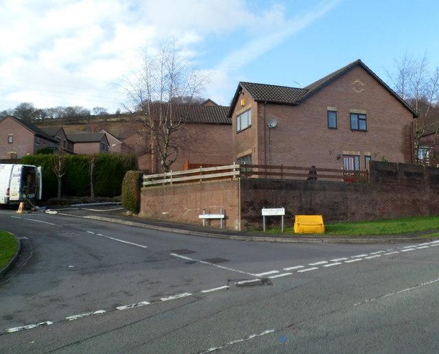 Corner of Celandine Court and Hawkes Ridge, Ty Canol, Cwmbran
