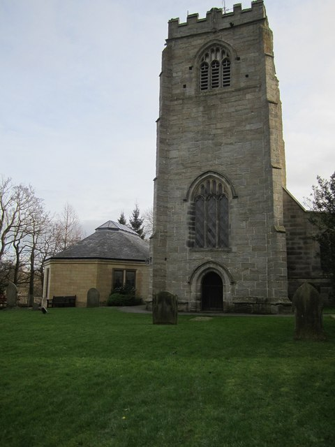 The tower of the Parish Church of St Thomas a Becket, Hampsthwaite