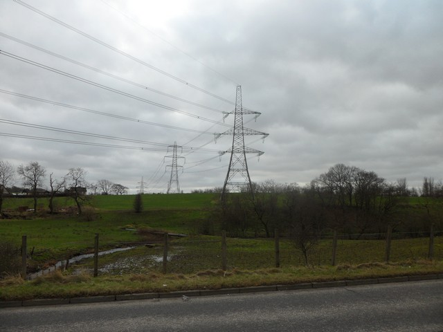 Pylons pass through countryside